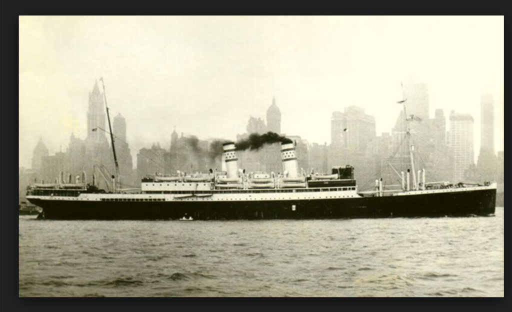 Zim Lines - S.S. Jerusalem - Leaving New York in the early 1950s for the Mediterranean and Israel.