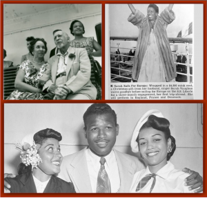 Du Bois, W. E. B., Sarah Vaughn, Sugar Ray Robinson, Tennessee Williams, Salvador Dahli, Samuel Goldwyn, James Thurber, Elizabeth Taylor, Mike Todd, French Line, S.S. Liberte, S.S. Bremen, S.S. Europa, Cruise History, Cruise Line History, Liners, Cruise Ships, Michael L. Grace, Cruising the Past, ships, 1950s, retro