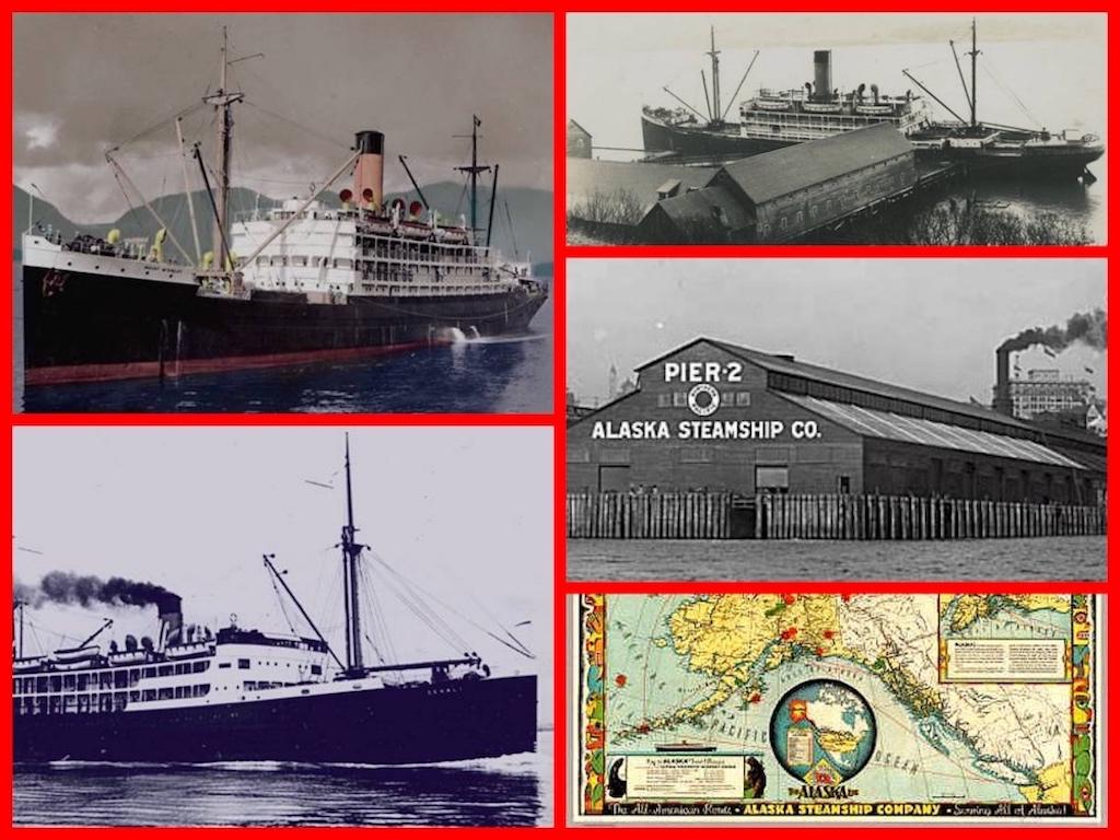 Alaska Steamship Lines, SS Alaska, 1950s, retro, cruise lines