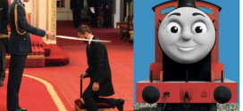 BEATLE's SIR RINGO STARR Knighted by PRINCE WILLIAM who was a big fan of Ringo as a drummer and narrator of THOMAS the TANK ENGINE