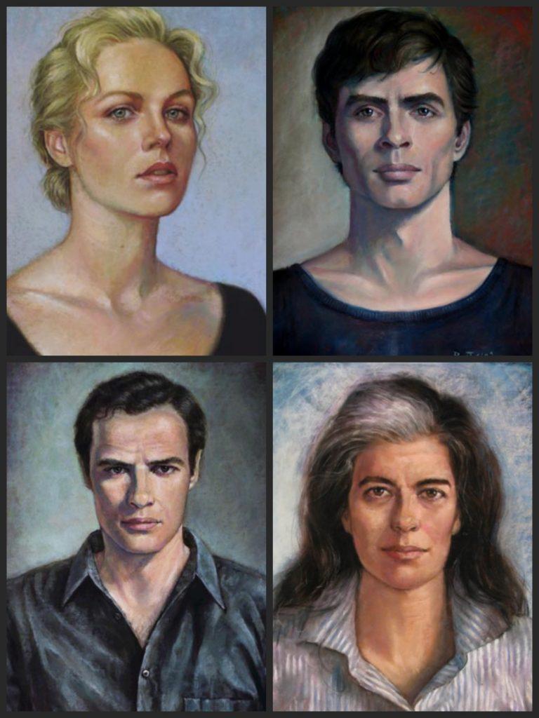 Clockwise: Charlize Theron, Mikhail Baryshnikov, Susan Sontag and Marlon Brando.